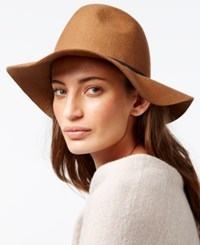 Nine West Felt Pinched Crown Floppy Hat Camel