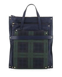 Red Valentino Men's Rockstud Trim Leather Tote Bag Blue Green Blue Green