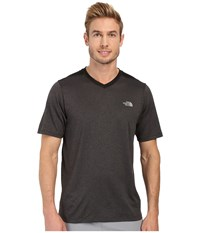 The North Face Reactor Short Sleeve V Neck Tnf Dark Grey Heather Tnf Black Men's Clothing