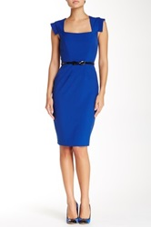 Single Dress Cap Sleeve Belted Dress Blue