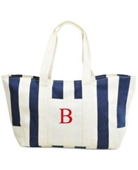 Cathy's Concepts Personalized Navy Striped Canvas Tote B