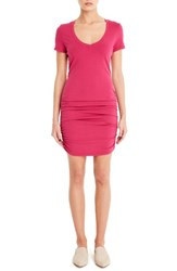 Michael Stars Women's Ruched V Neck Jersey Minidress French Rose