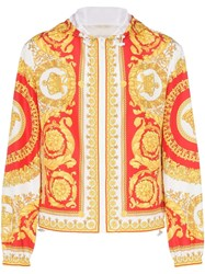 Versace Baroque Print Hooded Jacket A743 Red Yellow