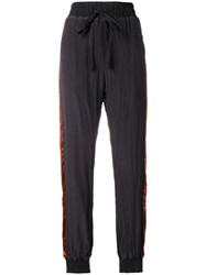 Haider Ackermann Creased Satin Side Stripe Joggers Black