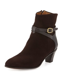 Suede Ankle Strap Bootie Dark Brown Gravati
