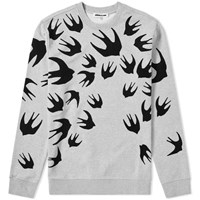 Mcq By Alexander Mcqueen Large Swallow Flocked Crew Sweat Grey