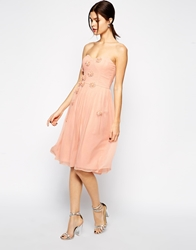Elise Ryan Midi Bandeau Dress With 3D Daisy Flowers Pink