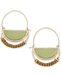Inc International Concepts Gold Tone Green Stone Half Moon Hoop Earrings Only At Macy's