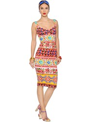 Dolce And Gabbana Floral Stretch Charmeuse Pencil Dress