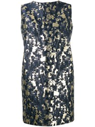 Gianluca Capannolo Sleeveless Jacquard Dress Blue