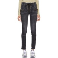 Unravel Black Lace Up Skinny Jeans