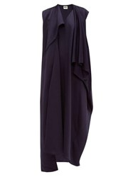 Maison Rabih Kayrouz Draped Satin Midi Dress Navy