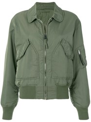 Alyx Cropped Bomber Jacket Green