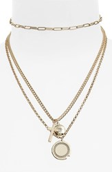 Topshop Multi Row Charm Necklace Gold