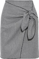 Iris And Ink Woman Ryden Wrap Effect Houndstooth Woven Mini Skirt Black