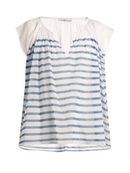 Mes Demoiselles Mathilde Striped Cotton Gauze Blouse Blue Stripe