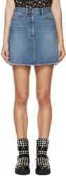 Marc By Marc Jacobs Blue Embroidered Cherry Miniskirt