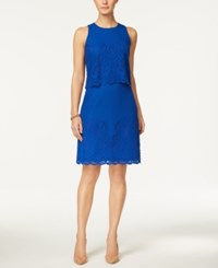 Charter Club Petite Lace Popover Sheath Dress Only At Macy's Modern Blue