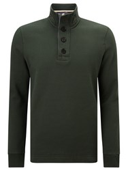 John Lewis Weekend Button Neck Sweatshirt Dark Green