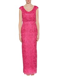 Gina Bacconi Embroidered Corded Mesh Maxi Dress Spring Pink