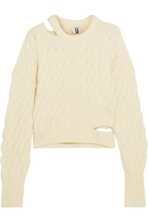 Topshop Unique Cutout Cable Knit Sweater Cream