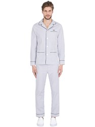 Maison Marcy Slim Striped Cotton Pajama Shirt And Pants