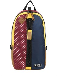 Supe Design Nylon And Faux Suede Dot Day Backpack