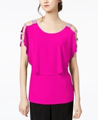 Msk Rhinestone Popover Blouse Pink