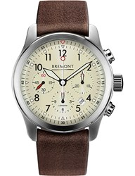 Bremont T1084082203700 Alt1 P2 Stainless Steel Chronograph Leather Strap Watch Brown