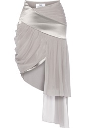 Prabal Gurung Silk Chiffon And Satin Mini Skirt Gray