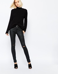 Vero Moda Busted Knee Coated Jean Black
