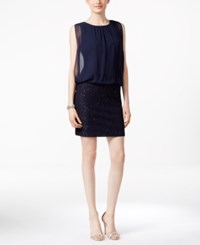 Msk Chiffon And Sequin Blouson Dress Navy