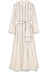 Tory Burch Pleated Embroidered Silk Crepe Gown Ivory