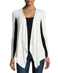 Red Haute Colorblock Stretch Knit Cardigan Ivory Black