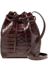 Mansur Gavriel Mini Croc Effect Leather Bucket Bag Dark Brown