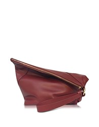 Diane Von Furstenberg Origami Red Wine Leather Wristlet Handbag Wine Red