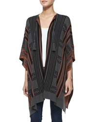Cynthia Vincent Striped Open Front Poncho Rust