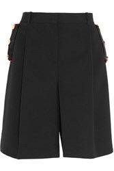 Givenchy Velvet Trimmed Shorts In Black Wool