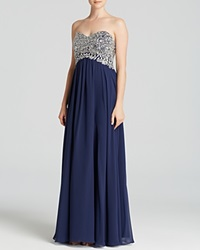 Decode 1.8 Gown Strapless Embellished Bodice And Chiffon Skirt Navy