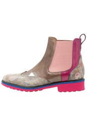 Melvin And Hamilton Amelie 13 Ankle Boots Classic Nebia Smoke Dark Pink Light Brown