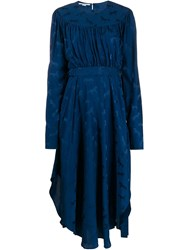 Stella Mccartney Horses Jacquard Midi Dress Blue