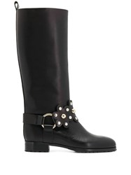 Red Valentino Flower Puzzle Boots Black