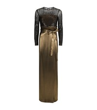 Escada Grilena Sequined Long Sleeve Gown Female Gold