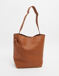 French Connection Mottled Leather Tote Bag Brown