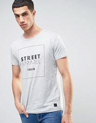 Solid Longline T Shirt With Logo Grey