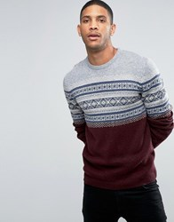 Asos Fairisle Jumper Burgundy Red