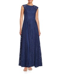 Aidan Mattox Pleated Lace Gown Navy
