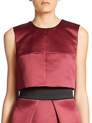 Milly Duchess Satin Cropped Seamed Shell Burgundy