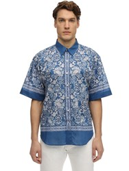 Etro S S Bandana Print Cotton Shirt Blue