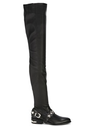 Toga Pulla Thigh High Buckled Boots Black